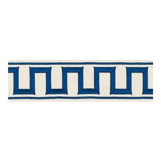 Schumacher X Miles Redd Greek Key Embroidered Tape Trim in Blue For Sale