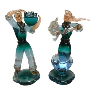 1950 Venetian Murano Glass Green and Blue Figurines - a Pair For Sale