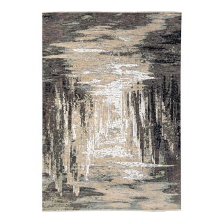 Modern Indian Abstract Beige and Gray Handmade Wool and Silk Rug For Sale