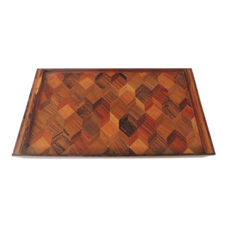 1960s Mid Century Modern Rosewood Tray by Brazilian Designer Don Shoemaker For Sale