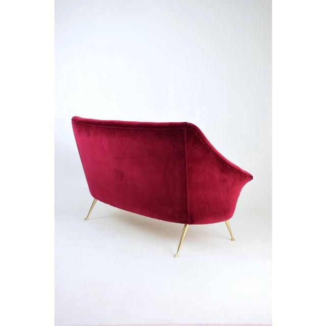 Italian Midcentury Velvet Sofa in the Manner of Ico Parisi, 1950s For Sale - Image 12 of 13