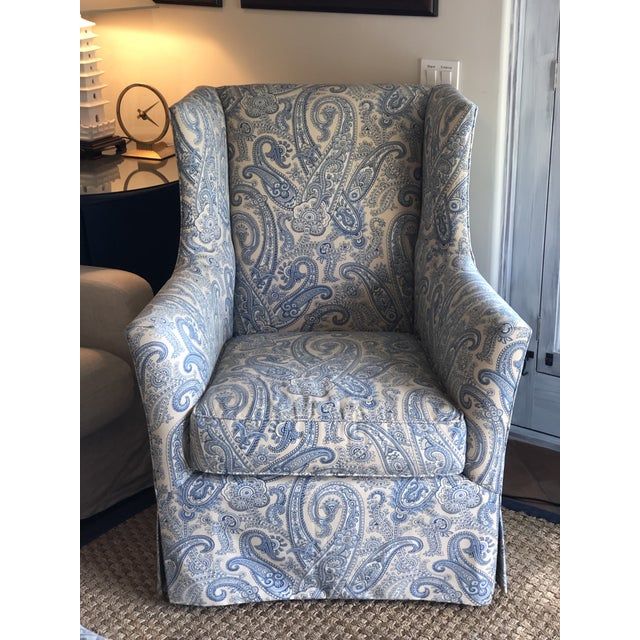Ralph Lauren Blue Paisley Custom Upholstered Hickory White Club Chair For Sale - Image 10 of 10