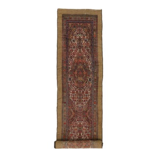 Antique Persian Malayer Carpet Runner with Camel Hair, Long Persian Runner For Sale