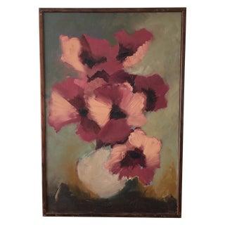 Vintage Floral Oil Painting For Sale