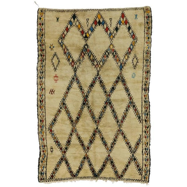 Textile Mid-Century Modern Vintage Beni Ourain Moroccan Rug with Tribal Style For Sale - Image 7 of 8