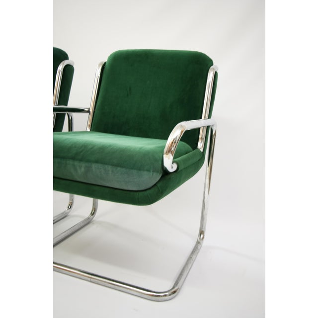 Dunbar Reversed Cantilever Tubular Chrome Chairs - A Pair - Image 4 of 7