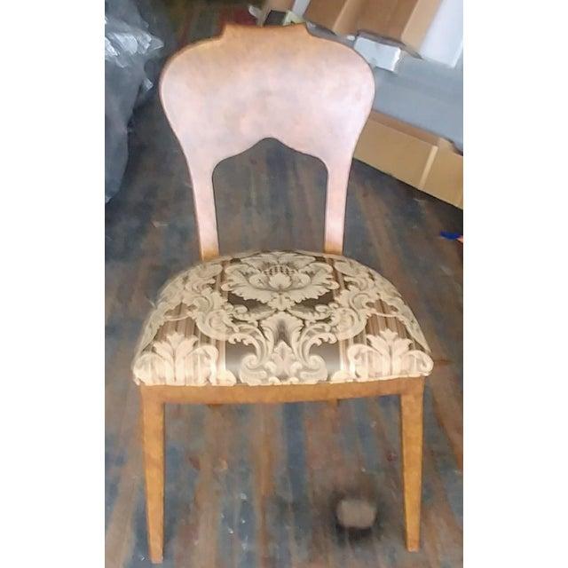 Hollywood Regency Henredon Furniture Arabesque Solid Antiqued Metal Ladies Desk Chair For Sale - Image 3 of 12