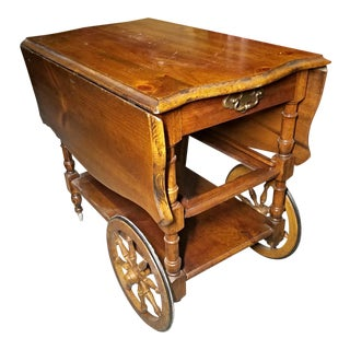 Antique Drop Leaf Table Cart For Sale