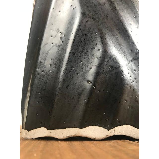 Vintage Black Glazed Hand Carved Ceramic Vessel For Sale - Image 9 of 10