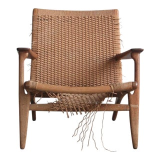 1960s Vintage Hans Wegner Ch25 Easy Lounge Chair For Sale