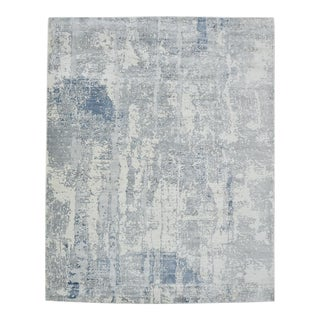 One-Of-A-Kind Contemporary Hand Loomed Area Rug, Blue, 7' 11 X 10' 2 For Sale