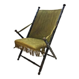 Vintage Victorian Dark Green Upholstered Folding Accent Chair