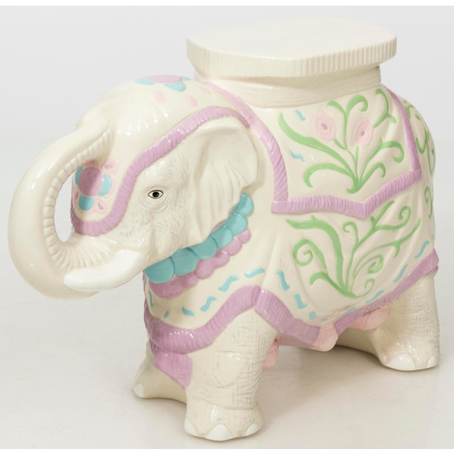 Hollywood Regency Hollywood Regency Ceramic Elephant Garden Stool or Side Table For Sale - Image 3 of 11