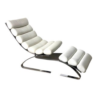 1970s Vintage D I a Chrome & Leather Cantilevered Lounge Chair and Ottoman For Sale