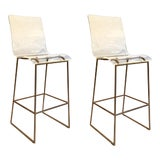 Image of Modern Acrylic and Brass Finished Bars Stools Pair For Sale