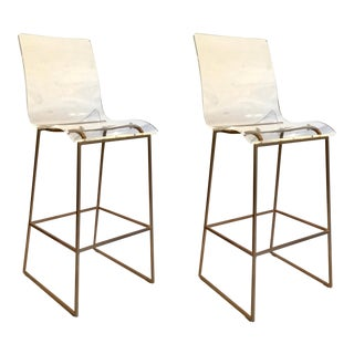 Modern Acrylic and Brass Finished Bars Stools Pair For Sale