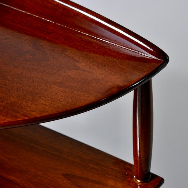 Italian Mid Century Palisander Demilune Two Shelf Console Table For Sale - Image 3 of 11