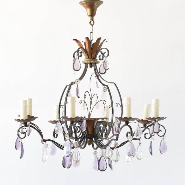 Vintage Iron/Crystal Chandelier For Sale - Image 4 of 4