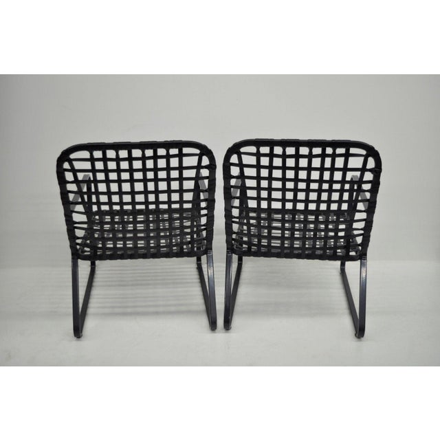Pair of Brown Jordan Lido Aluminum Vinyl Strap Patio Pool Lounge Chairs Black A - Image 2 of 11