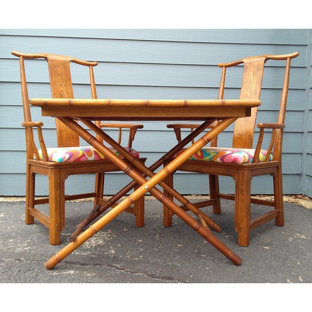 Folding Bamboo Table & Chinoiserie Chairs - Set of 3 | Chairish