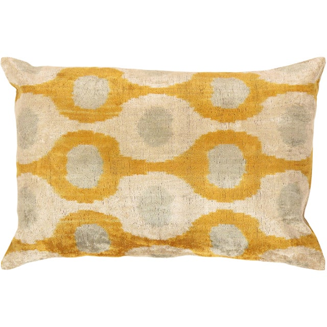 Tan & Mustard Silk Velvet Ikat Pillow - Image 1 of 2