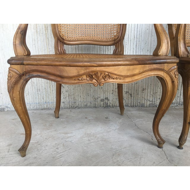 Wood 18th Louis XV Cane Back and Seat Fauteuil Armchair. For Sale - Image 7 of 13
