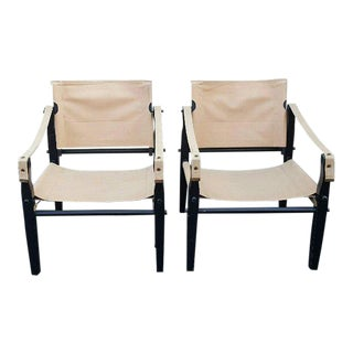 1960s Gold Medal Folding Furniture Company of Racine Safari Folding Chairs - a Pair For Sale