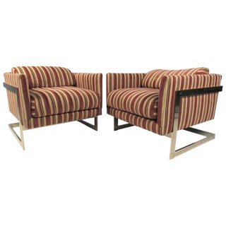 """Mid-Century """"Cube"""" Lounge Chairs by Milo Baughman for Thayer Coggin For Sale"""