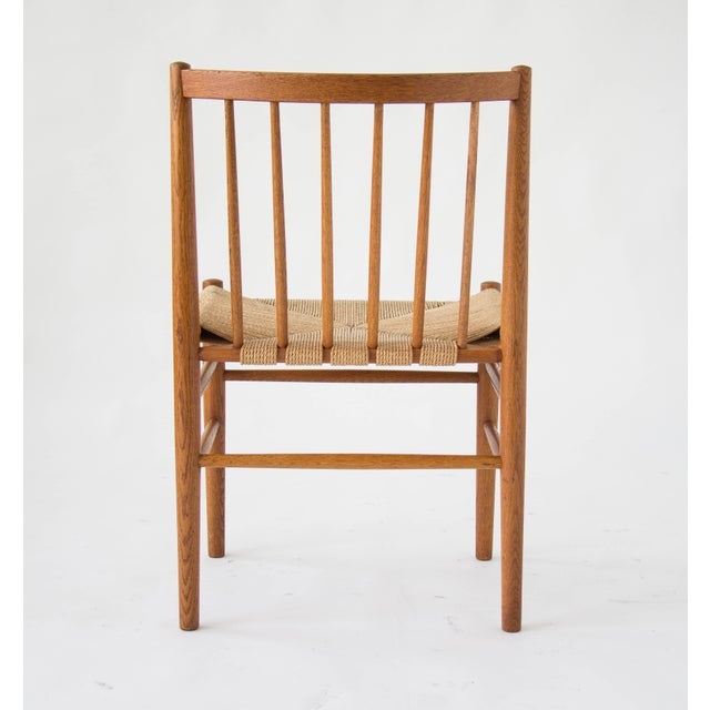 Spindle-Backed Oak and Danish Cord Dining Chairs - S/6 - Image 5 of 10