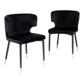Contemporary Kayla Upholstered Dining Chairs in Black Velvet - A Pair For Sale