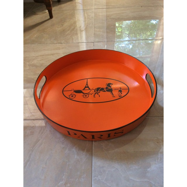 Orange Lacquered Hermes Inspired Bar Tray For Sale - Image 10 of 11