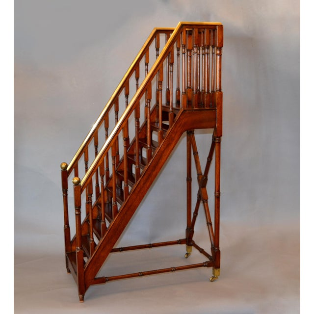 Architectural Decorative Victorian Walnut & Brass Library Steps, Ladder, Stairs For Sale - Image 12 of 13