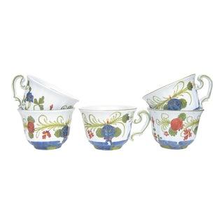 Italian Garofano Blue Carnation Majolica Cups - Set of 5 For Sale
