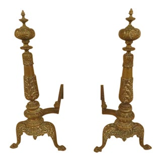 Antique French Louis XVI Style Brass Andirons - a Pair For Sale