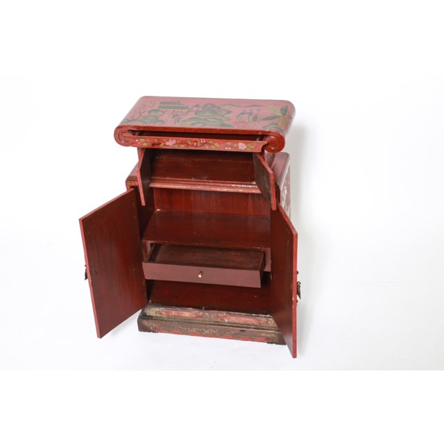 Early 20th Century Chinoiserie Diminutive Cabinet With Painted Scenes For Sale - Image 5 of 7