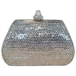 Judith Leiber Silver Swarovski Crystal Mini Purse Minaudiere Evening Bag For Sale