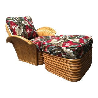 "Art Deco Style ""Hawaii"" Rattan Fan Arm Lounge Chair With Ottoman Set For Sale"
