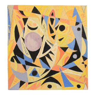 1988 Abstract Composition in Yellow and Black by Lars Larsen For Sale
