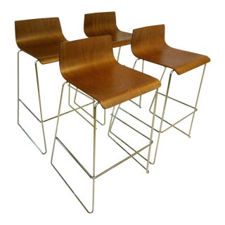 Modern Molded Aceray Plywood & Chromed Stacking Bar Stools- Set of 4 For Sale