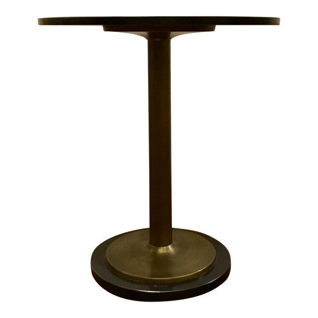 Currey and Co. Modern Black Marble and Antique Brass Side Table For Sale