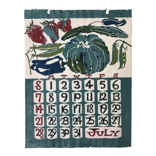 Mid Century Japanese Calendar Print Wall Art July For Sale