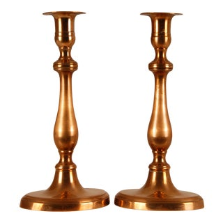 18th Century French Copper Brass Louis XVI Candle Holders Candlesticks - a Pair For Sale