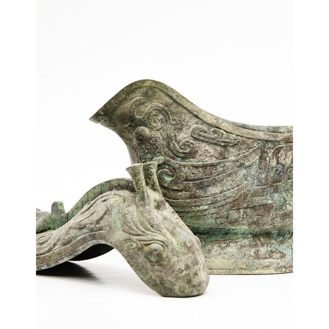 Asian Lawrence & Scott Large Verdigris Bronze Snail Box For Sale - Image 3 of 10