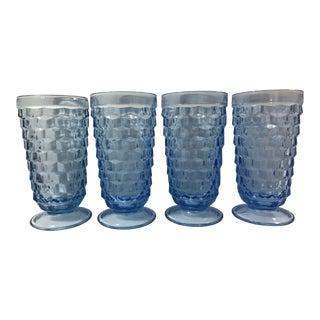 1970s Light Blue Fostoria Cubist Glasses - Set of 4 For Sale