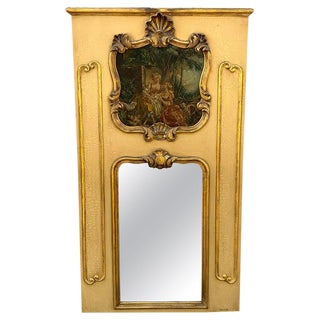 Antique French Painted Trumeau Mirror, With d'Apres Boucher Painting For Sale
