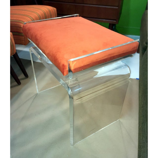 Lucite Cushion Top Ottoman/Seat For Sale - Image 4 of 4