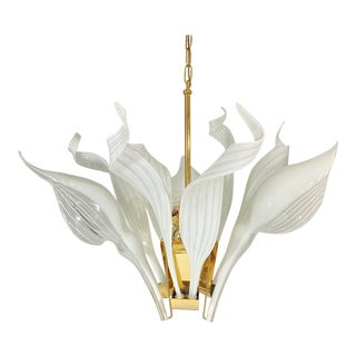Franco Luce Murano Glass Calla Lilly and Ribbon Brass Chandelier For Sale
