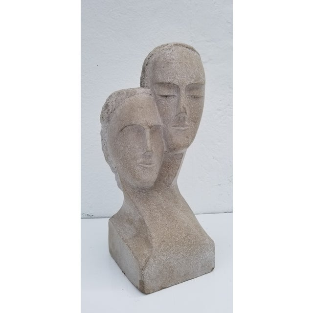 "1960s Vintage ""His and Hers "" Carved Stone Bust Sculpture For Sale - Image 12 of 12"