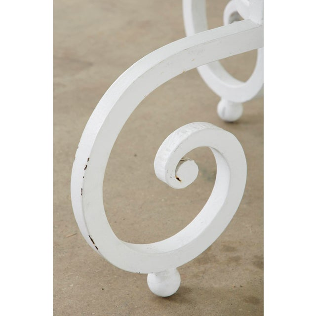 Oval Wrought Iron Painted Garden Dining Table For Sale - Image 9 of 13