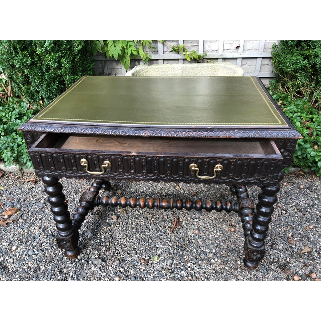 Baroque Early 20th Century Baroque Style Relief-Carved Writing Desk For Sale - Image 3 of 13